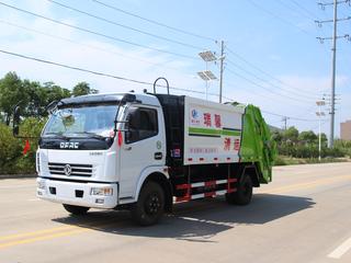 国五东风8方压缩垃圾车带三角斗图片